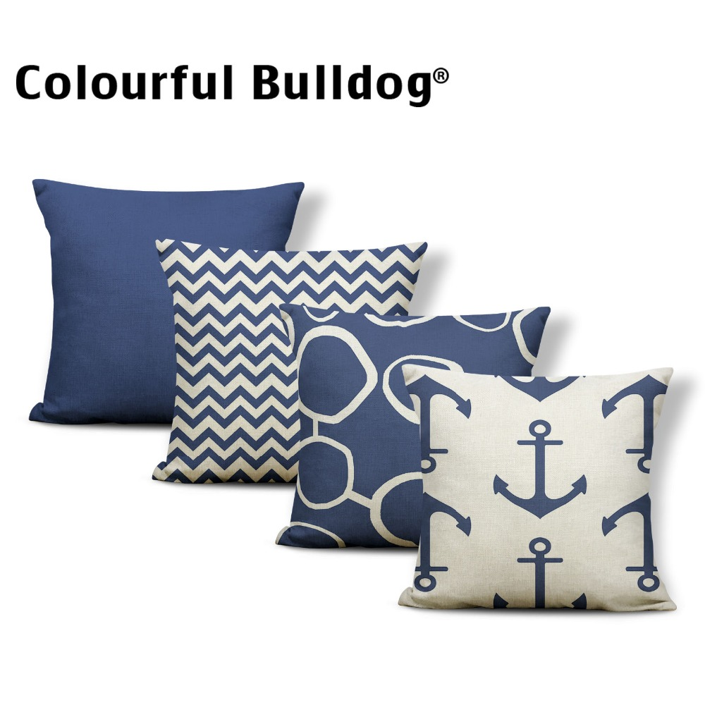 Chevron Cushion Geometry Pillow Case Cover Boat Hook Tropical Style Party For Living Room Series Dakimakura Ocean 45*45 Luxury