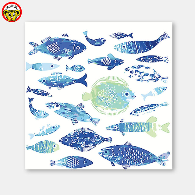 Lukisan Dengan Angka Seni Cat Oleh Nomor Diy Kartun Ikan Biru Cabang Mewarnai Dilukis Tangan Dekoratif Lukisan Dan Minyak Pai Cat Dengan Nomor Aliexpress