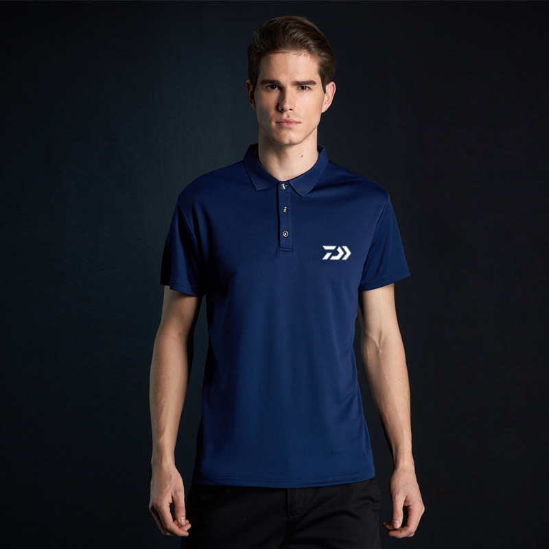 Summer 2018 New Daiwa Fishing Clothing Men Quick Dry Breathable Sweating T-Shirts Outdoor Sports Elastic Polo Shirts Anti-UV