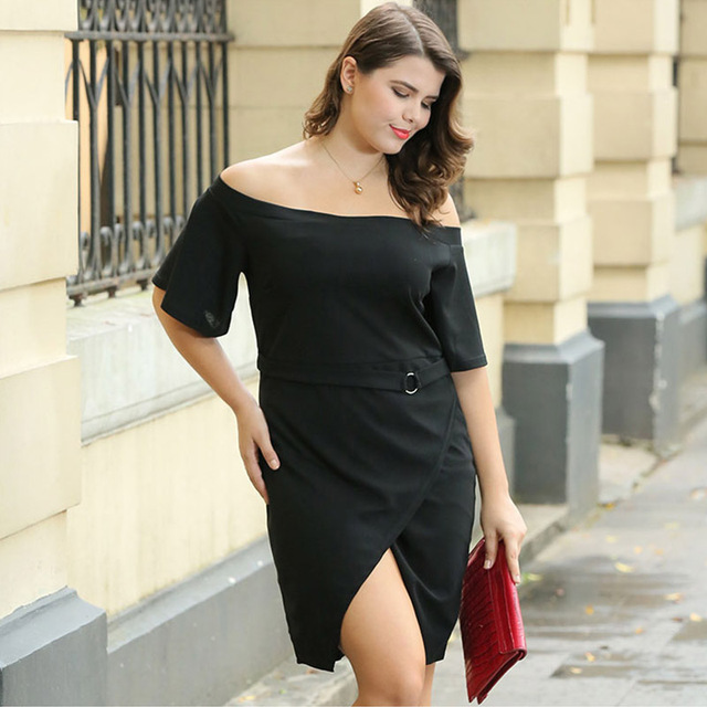 2018 summer women dress Streetwear For Fat elegant Half sleeve sexy work  clothes 3xl large size black party Knee-Length dress f86ae94a9