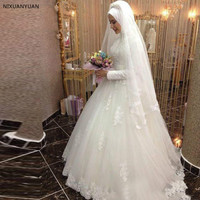 Vestidos De Noiva 2019 Ball Gown Bride Dress Princess Lace Muslim Wedding Dress Long Sleeve Vintage Wedding Dress