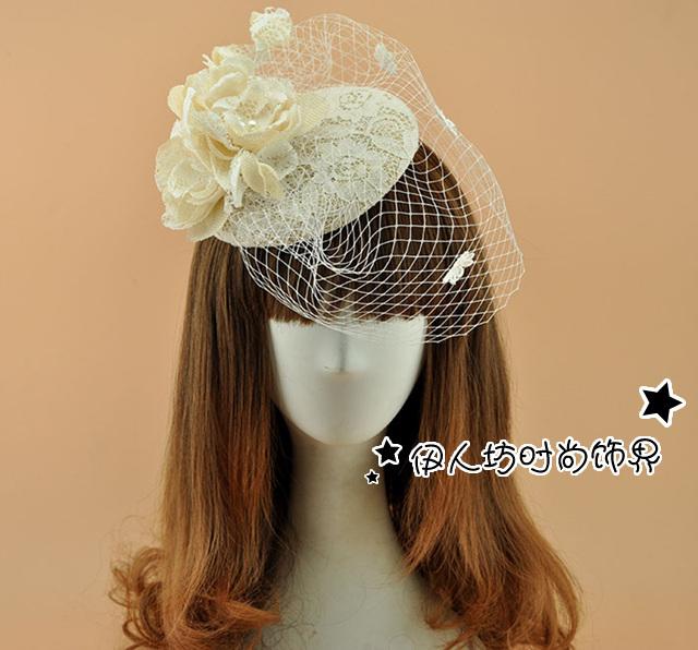 Do laço do Vintage chapéus de noiva com véus de casamento Fascinators chapéus 2016 nova nupcial Headpiece Sinamay chapéus flor pena decoração