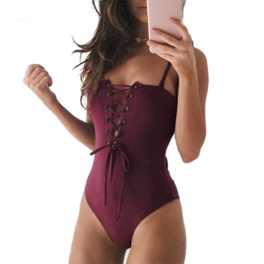 2017 Sexy One Piece Swimsuit Swimwear Women Bathing Suit Swim Vintage Summer Beach Wear Print Bandage Monokini Swimsuit bandage vintage beach wear one piece swimsuit women backless trikini deep v neck monokini triquini sexy bathing suit
