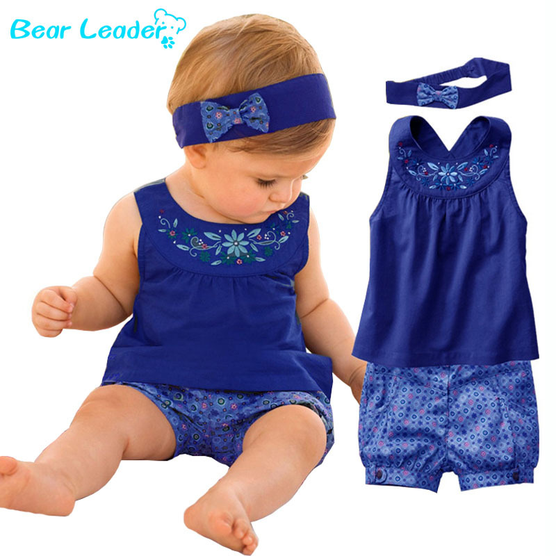 Bear Leader Fashion Blue Baby Vestidos Suits/Baby Kerchief+ Sleeveless Dress+ Gingham Plaid Pant/ Baby Clothing 2016 New
