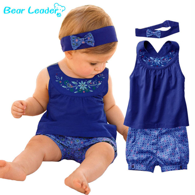 Image result for Bear Leader 2018 New Fashion Baby Vestidos Suits Baby Kerchief Sleeveless Dress Gingham Plaid Pant Baby Clothing For 6-24M