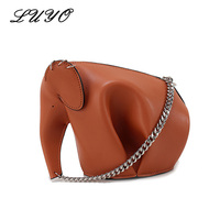 LUYO Fashion Elephant Genuine Leather Chain Lovely Luxury Handbags Women Messenger Bags Designer Girls Shoulder Bag