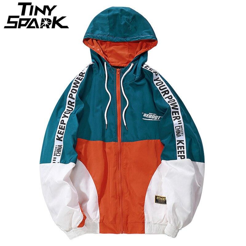 Hip Hop Mens Hooded Windbreaker Jacket Autumn Casual Vintage Color Block Loose Track Hoodie Jacket Coats Streetwear Hiphop