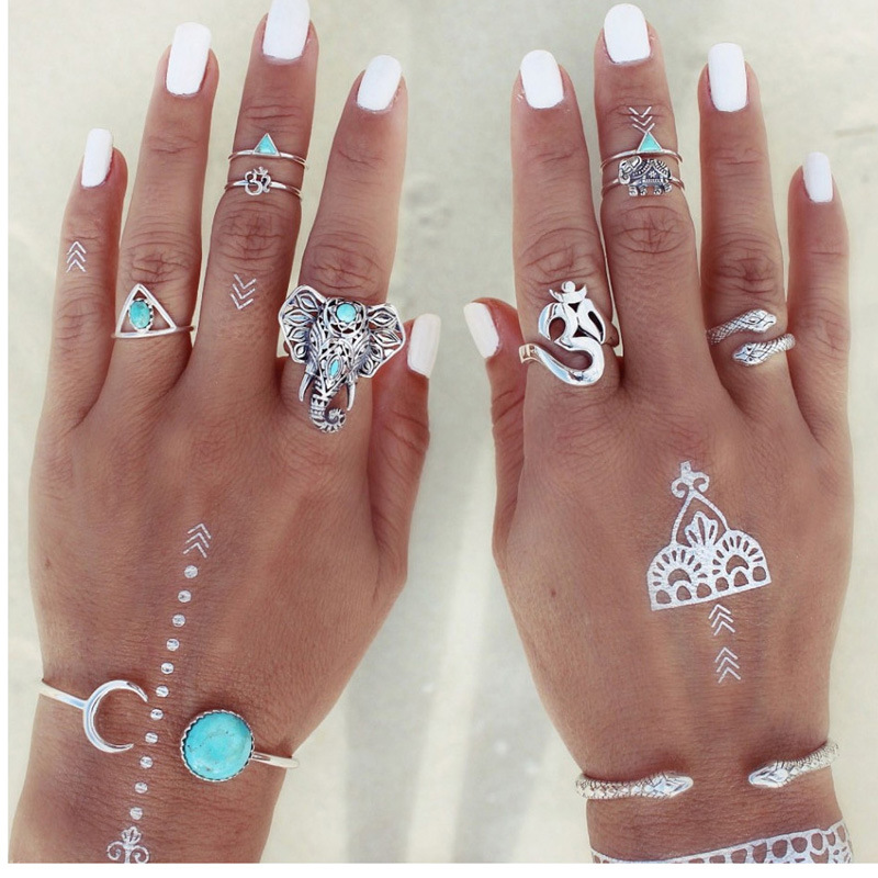 8 Pcs/Set Antique Silver Ring Set Elephants and Snakes Shape Ring Knuckle for Women Blue Stone Bohemian Vintage Party Jewelry
