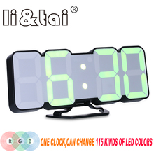 115 kinds of color changes Remote LED digital clock Voice control Alarm clock Modern 3D wall clock Desktop thermometer clock