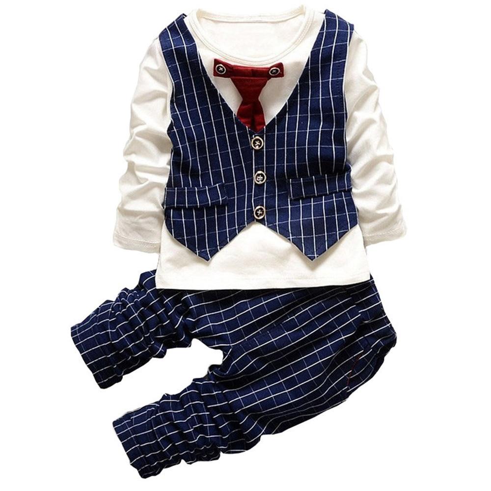 BibiCola Baby Boys Podzimní oblečení Dětské oblečení Dětské oblečení Dětské tričko Vest T-shirt + Kalhoty Suit Dětské / batole Sportovní oblečení