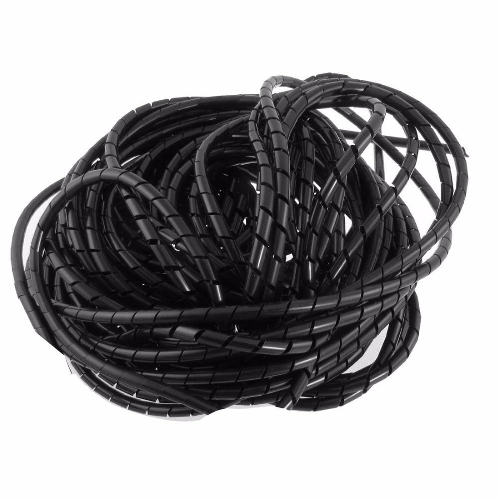 ID 5mm x OD 6mm 20FT/(6 mt) spirale Wrap Rohr Schwarz Kabel Draht ...