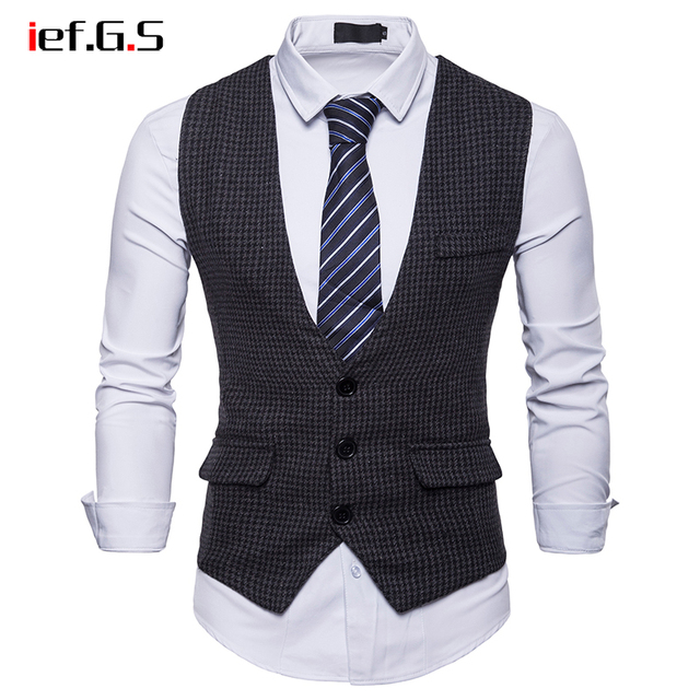 IEF.G.S Brand Plaid Vest Men Single Breasted Wedding Suit Vests Slim Fit Sleeveless Business Vests No Shirts Dress Vests Autumn