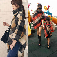 Fashion Plaid Mother Daughter Shawl Clothes For Girls And Ladies Cotton Family Matching Outfits
