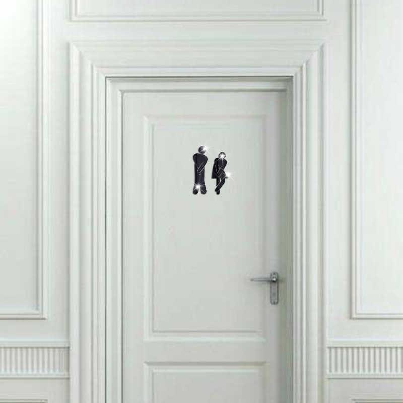 3D акриловое зеркало для ванной наклейка s женщина и человек Туалет знак зеркало стены стикеры домашний отель дверь в Туалет знак Зеркало стикеры