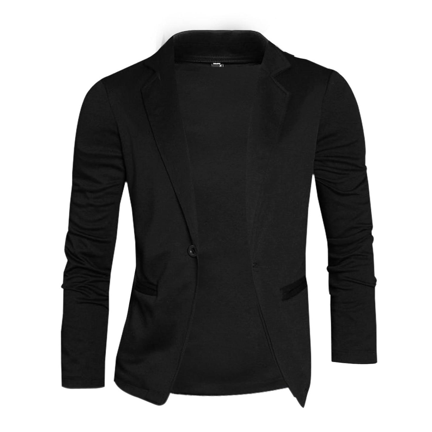 Men Nocth Lapel Long Sleeve Button Closure Casual Blazers