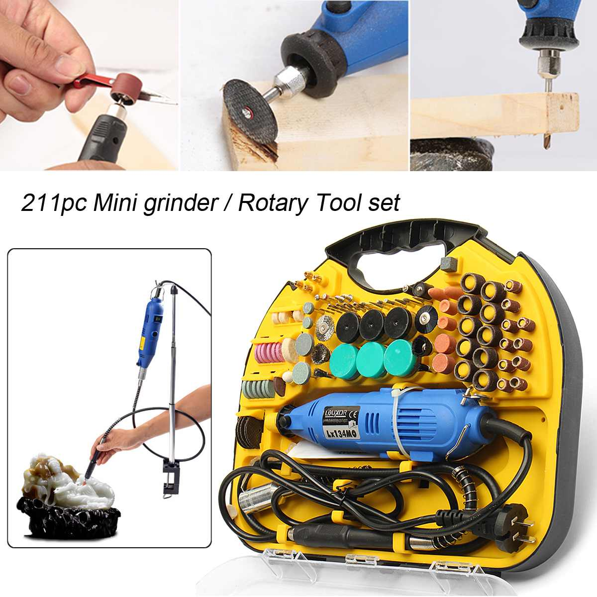 211pcs Rotary Tool Set Electric Mini Drill Grinder Engraver Sander Polisher Hobby Craft For Dremel Rotary Tools Power Tools211pcs Rotary Tool Set Electric Mini Drill Grinder Engraver Sander Polisher Hobby Craft For Dremel Rotary Tools Power Tools