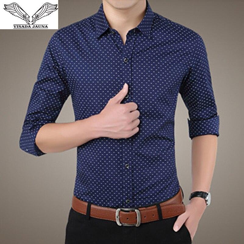 VISADA JAUNA 2017 New Arrival Men Shirts Business Casual Male Dress Long Sleeve Fashion Shirt Slim Cotton Chemise Homme  N961