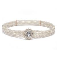 Fashion stijl mode Parel wit bead riemen voor vrouwen metalen ketting cumberbanden dunne gordel decoratie diamonds riem