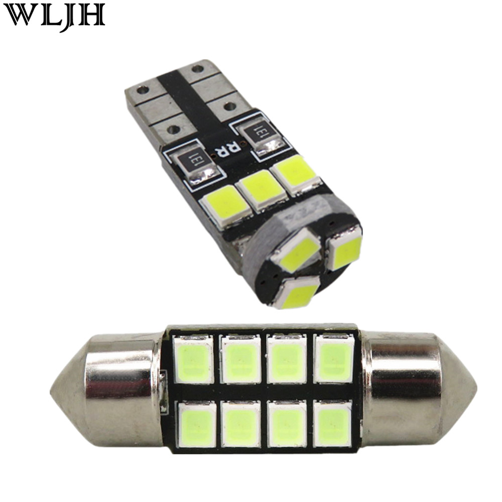 WLJH 6x 2835 SMD Led T10 W5W Bulb Dome Map License Plate Trunk Interior Light Package for Lancer Evo 8 9 2003 2004 2005 2006 22pcs car canbus led kit package 5630 smd white interior map dome glove box door license plate light for jaguar f type 2014 20xx