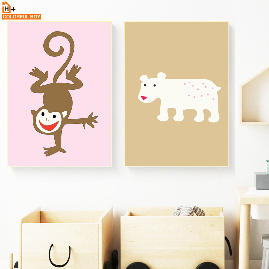 Cartoon Deer Elephant Monkey Bird Wall Art Canvas Painting Nordic ...