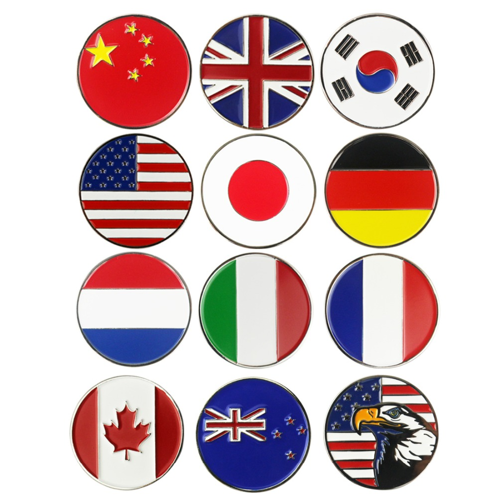 PINMEI Embossed Golf Ball Marks Sets 5pcs Country Flag Golf Markers Golf Accessories Can Fit Magnetic Hats Clips And Divot Tools
