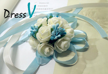 3 Colors 2 Pcs/lot  Eye-catching Wrist Flowers Pretty Bracelet Corsage Wedding Bouquet Noiva Decor Homecoming Bridesmaid Party