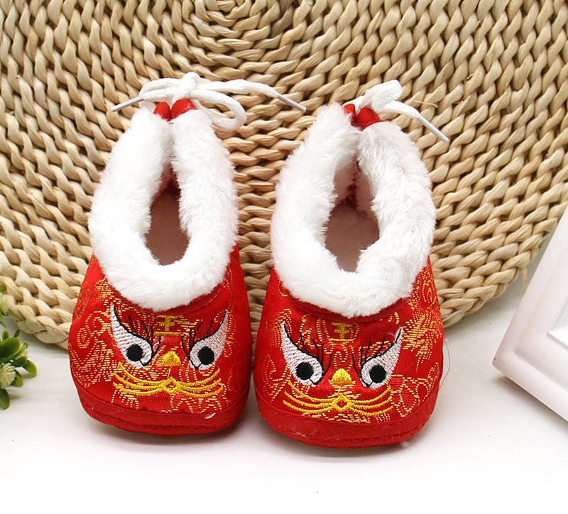 New 0-1 boys and girls cotton shoes winter baby soft bottom tiger shoes hundred days old red dress shoes