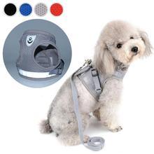 Светоотражающий Поводок для собак и кошек Pet Регулируемый жилет поводок для прогулок для щенков Полиэстеровая сетка жгут для маленьких средних собак Йоркцев