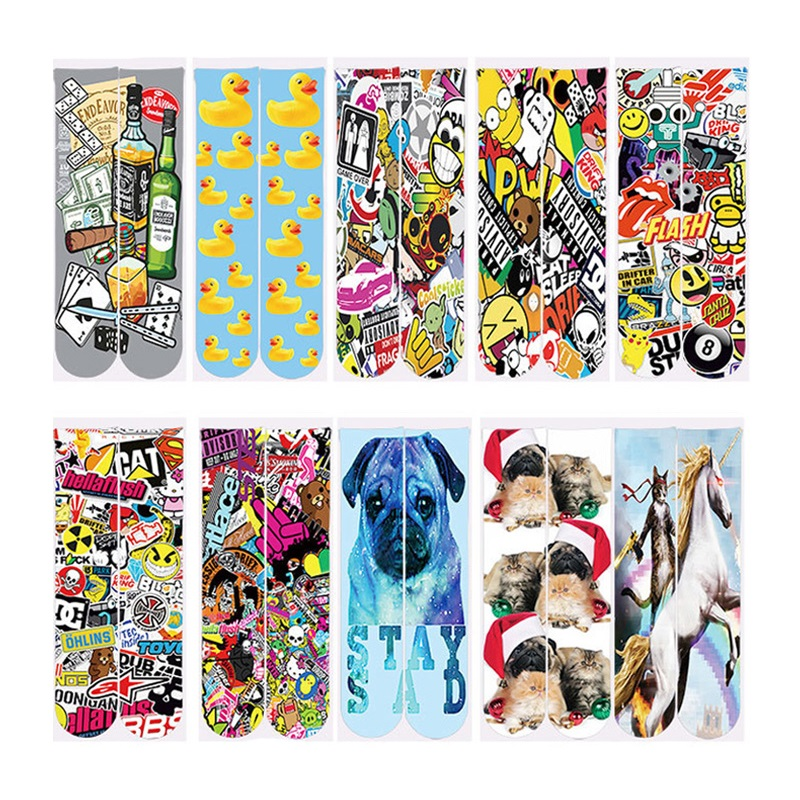 2018 Harajuku Men/Women 3d Animal Dog/Cat/Duck/Horse Printed Socks Casual Ankle Sock Polyester Cotton Short Spring Autumn Socks