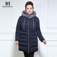SpiritMoon Brand Women Blouses Lengthen Winter Jackets Fox Fur Plus Size Women Clothing Down Jacket Bio
