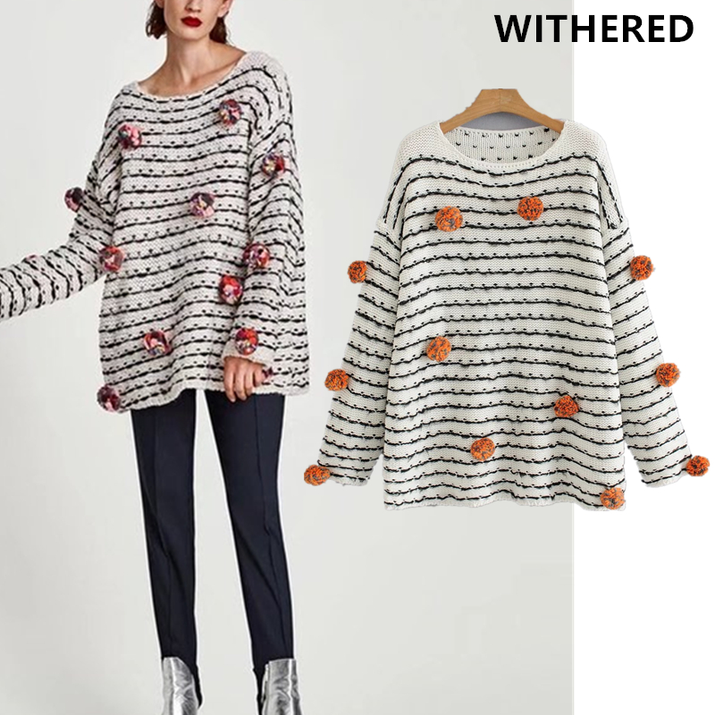 Withered 2017 winter sweater women christmas sweater vintage Embroidery ball striped oversize loose batwing sweater women tops ...