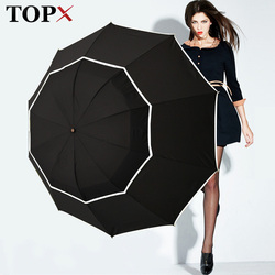 TOPX Big Top Qualität Regenschirm Männer Regen Frau Winddicht Große Paraguas Männlichen Frauen Sonnenhut 3 Klapp Große Dach Im Freien Parapluie