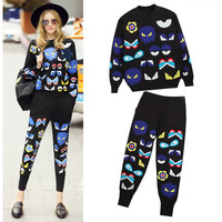 2019 Brand Runway Knitted Embroidery Pants Suits Women High Quality Cartoon Eyes Fashio Sweaters And Pants Casual Sets NS550