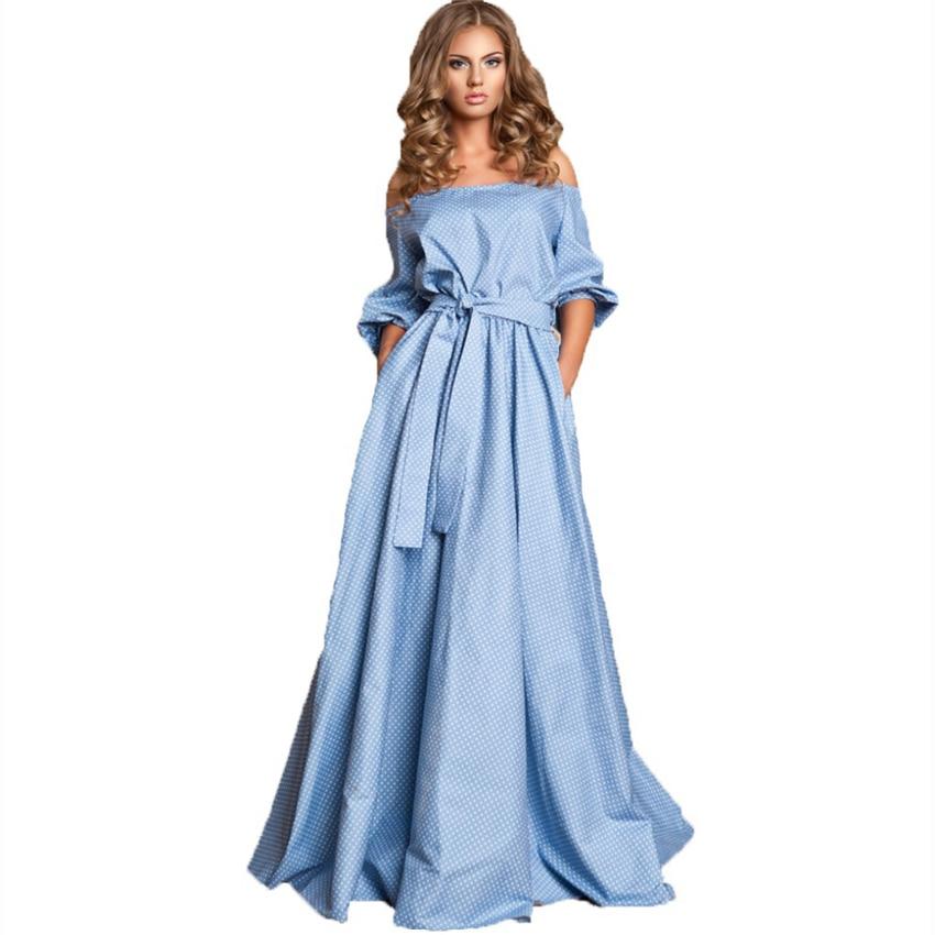 HIGH QUALITY New Russian Fashion 2019 Maxi Dress Women s Slash Neck Off The Shoulder Sweet