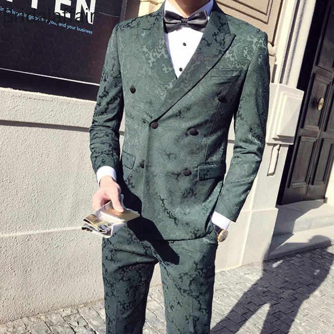 ワンダフルブラック花婿タキシード男性の結婚式のスーツウエディングファッション花プリントスリムフィット男性スーツ 3 ピース (ジャケット + パンツ + ベスト)