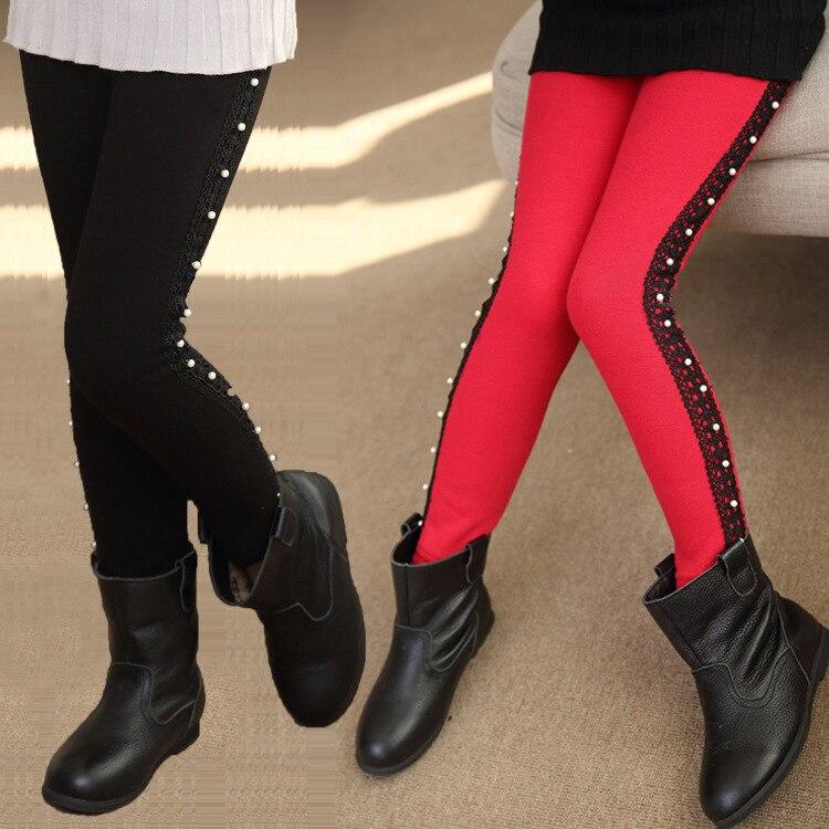 2016 Winter Children s Plus Thick Velvet Legging baby lace leggings big virgin winter warm pants