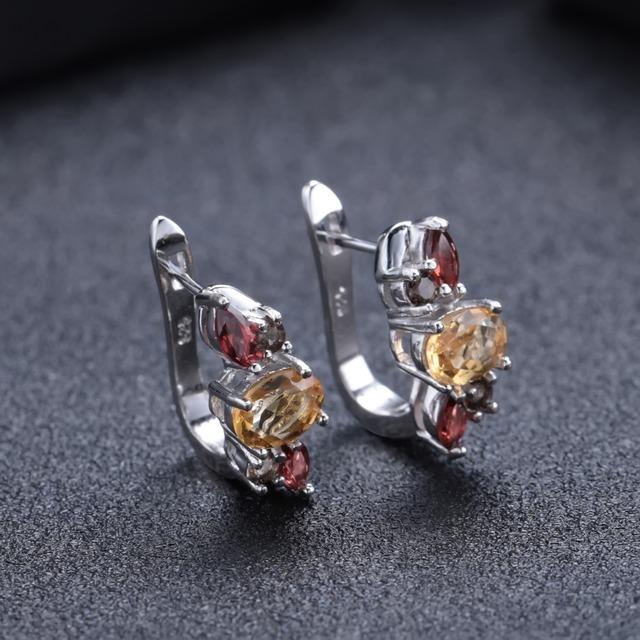 GEM'S BALLET Natural Citrine Garnet Smoky Quartz 925 Sterling Silver Gemstone Elegant Stud Earrings for Women Fine Jewelry