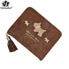Купить с кэшбэком Cute Dog Women Wallets and Purses Brand Leather Wallet Short Hasp Purse Coin Pocket Purses Card Holder Wallets Money Bag Clutch