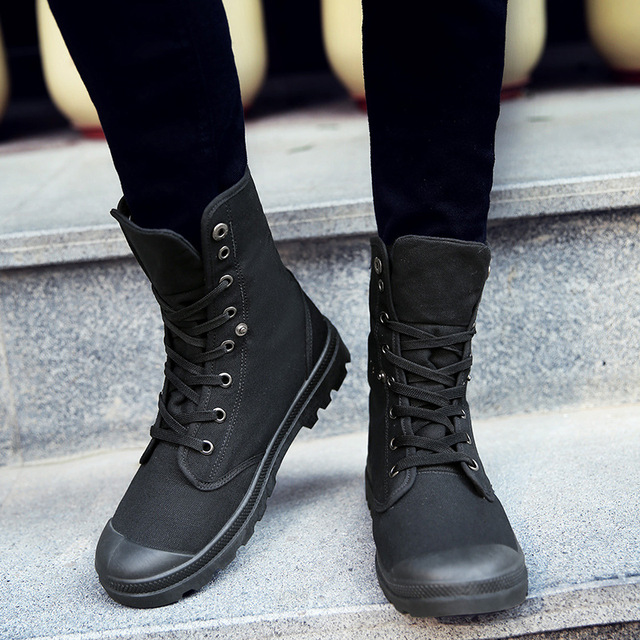All Black Men Shoes New Fashion High Top Sneakers Men Casual Canvas Shoes Boys Zapatos De Hombre Military Boots Tenis Masculino Uncategorized Fashion & Designs Men's Fashion