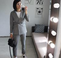 Karxige winter Korean Fashion All match thicker Trousers Two Temperament elastic strip pants comfortable female Suit