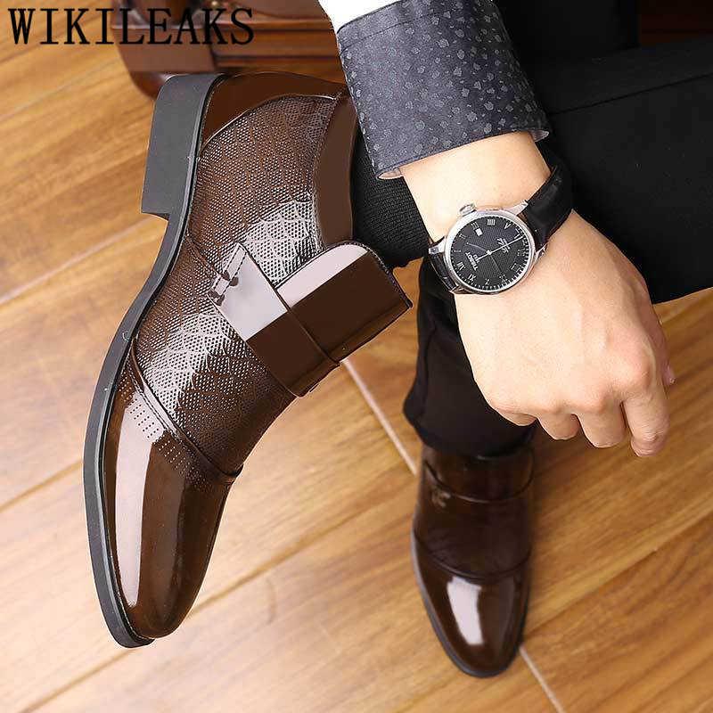 รองเท้าผู้ชายรองเท้าอย่างเป็นทางการสิทธิบัตรรองเท้าหนังผู้ชายรองเท้าธุรกิจรองเท้าชุดรองเท้า ayakkabi