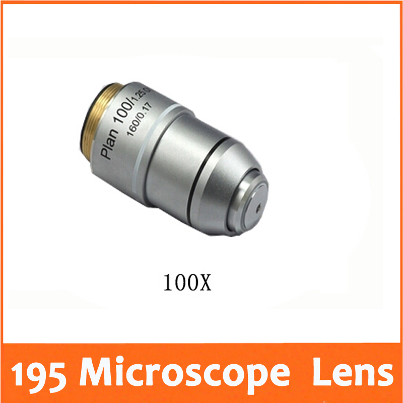 100X L=195 Plan Achromatic Biological Microscope Objective Lens Biomicroscopy Accessories Free Shipping microscope accessories mobile 00 foot power dimming