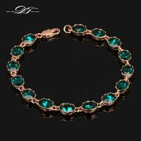 Luxury Nobleness Austrian Green Crystal Rose Gold Color Bracelets &Bangles Fashion Brand Jewelry For Women Wholesale DFH153