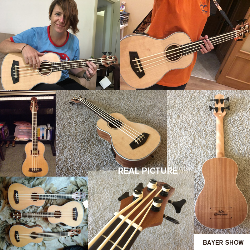 Купить с кэшбэком 30 Inch Ukelele Bass Rosewooden 4 String Instruments Wood Guitar Professional Bass Ukulele Mini Guitar UB-513