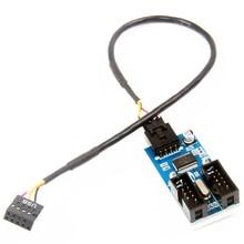 הארכת כבל כבל 9 פין ספליטר כבל יציאת Multilier USB 2.0 1 כדי 2 USB כותרת מחבר מתאם יציב זכר לנקבה
