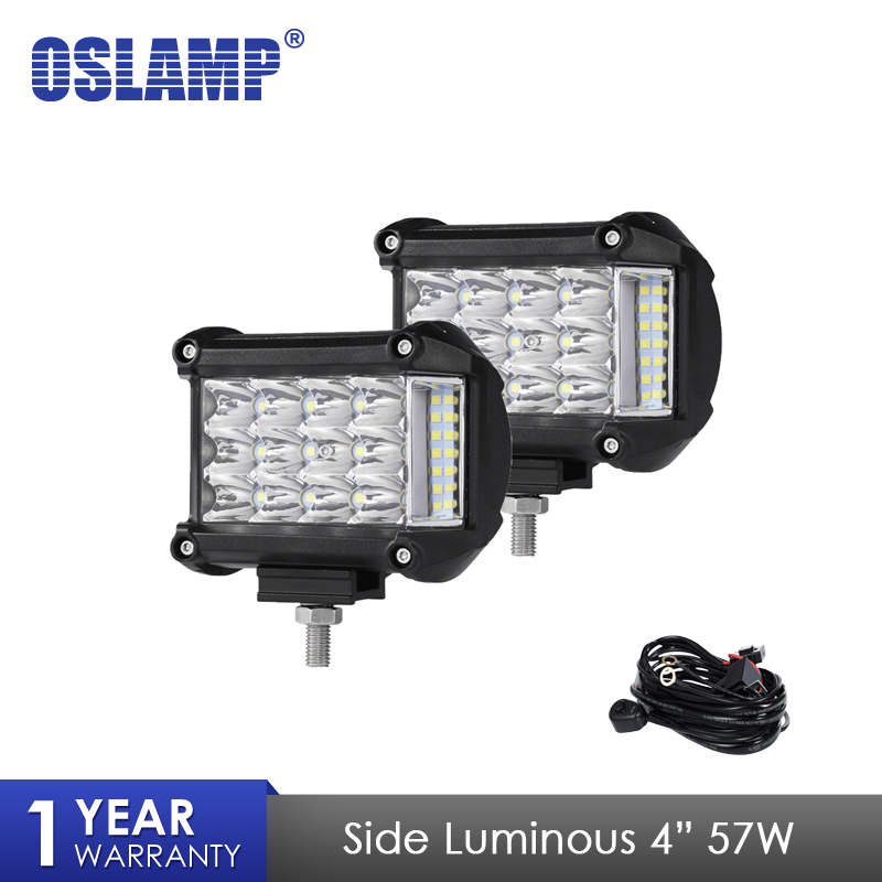 Oslamp 2pcs 4 inch 57W Side Luminous Led Work Light Car Driving Lamp Offroad Light Bar Combo For 4x4 Trucks Off-road Vehicles
