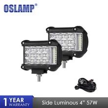 Oslamp 2 шт. 4 дюймов 57 Вт сбоку световой индикатор работы света вождение автомобиля лампы Offroad свет бар Combo для 4×4 грузовики внедорожники