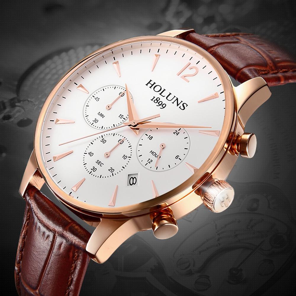 Watches Men Creative Luxury Original Brand Sport Mens Leather Fashion Wrist Watch Chronograph Waterproof Male Quartz