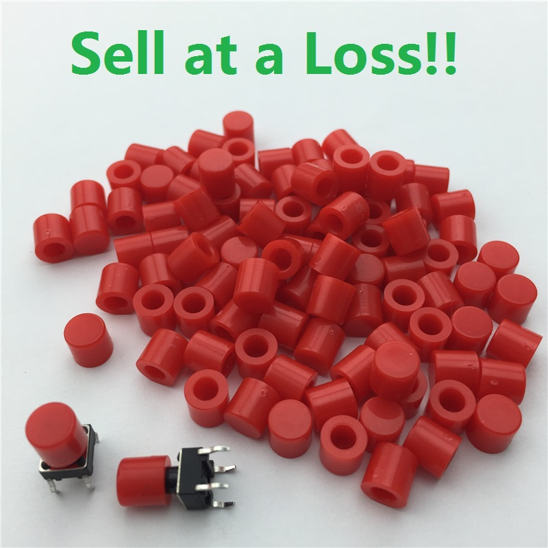 100pcs/lot Red Plastic Cap Hat for 6*6mm G61 Tactile Push Button Switch Lid Cover Free Shipping chemo skullies satin cap bandana wrap cancer hat cap chemo slip on bonnet 10 colors 10pcs lot free ship