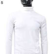 Men Fashion Winter Warm Polo Neck Sweater Solid Color Men's Cotton Pullover Long Sleeve Slim Sweater Top